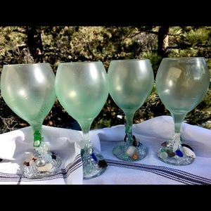 Other - HOME. 4 Artisan SeaGlass Wine Goblets